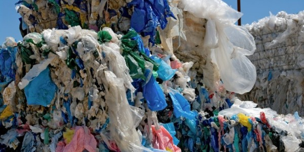 Baled plastic bags for recycling