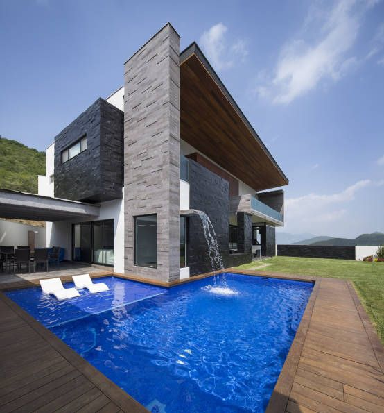 60 bonitas fachadas de casas minimalistas sencillas y for Casas bonitas con alberca y jardin