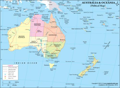 Banderas Mapas Paises Y Capitales De Oceanía