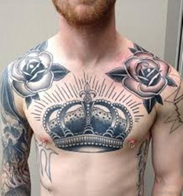 69 Cool Chest Tattoos: Cool-Crown-Chest-Tattoo-For-Men-TB114